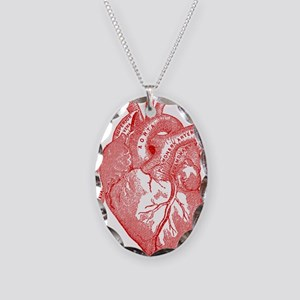 Anatomical Heart - Red Necklace Oval Charm